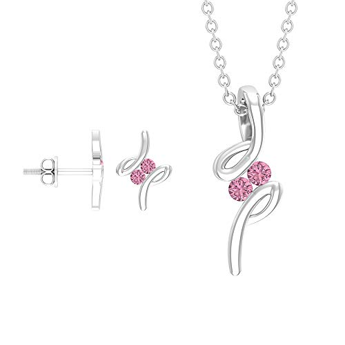 Rosec Jewels 18 quilates oro blanco redonda Pink Tourmaline