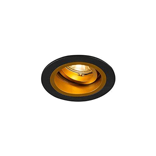 QAZQA Modern Einbauspot rund schwarz/Gold/Messing dreh- und neibgar - Chuck/Innenbeleuchtung/Wohnzimmerlampe/Schlafzimmer/Küche Stahl Rund LED geeignet GU10 Max. 1 x 50 Watt