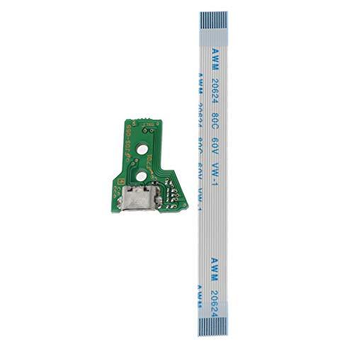 Mya - Set scheda di commutazione per maniglia PS4 JDS-055 (scheda madre + cavo) di ricambio per porta di ricarica USB per controller JDS-055 PS4 con un cavo flessibile a 12 pin