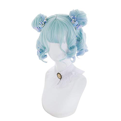 Lolita perruque-Gradient courte perruque de visage rond bouclé pour les femmes Cosplay Party Daily Use -26cm MUTSALAK