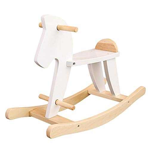 Review Of HOMESROP Nordic Style Wooden Rocking Horse, Garden Rocking Horse Easy Installation