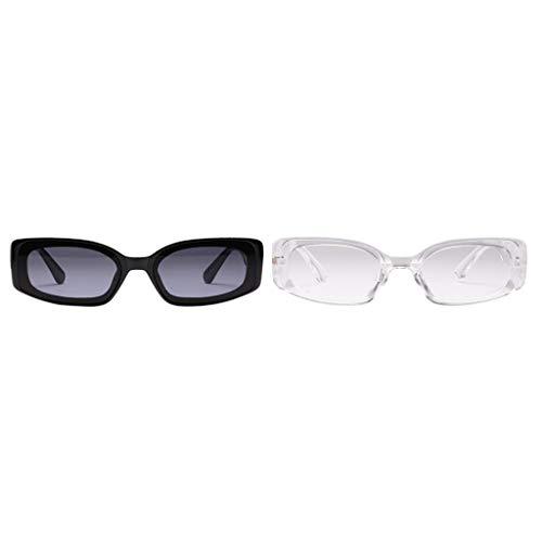 Milageto Paquete de 2 Gafas de Sol Retro Unisex Gafas Transparentes Club Street Fancy Gafas