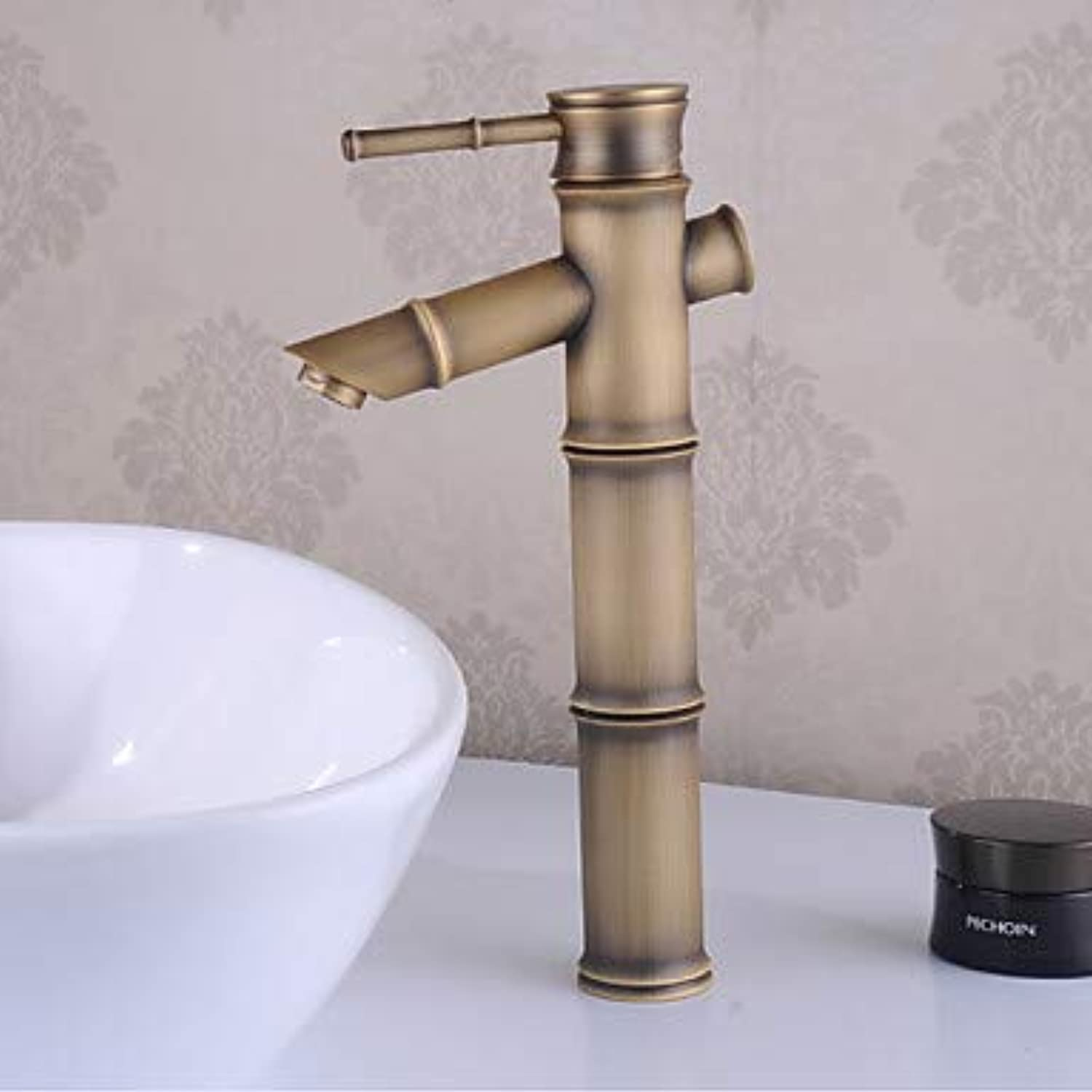 Mangeoo Bathroom Sink Faucet - Waterfall Antique Brass Centerset Single Handle One Holebath Taps