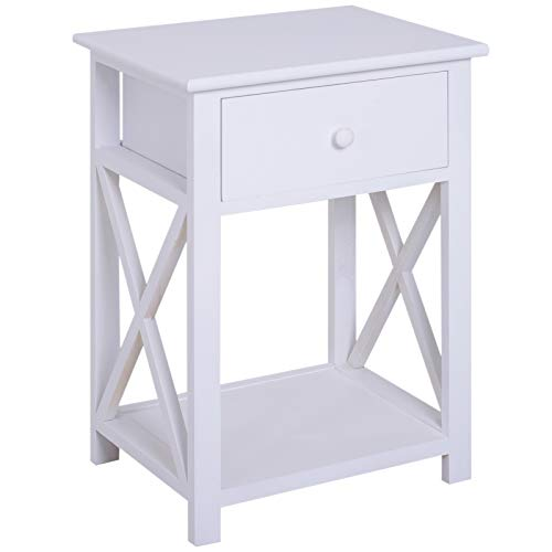 HOMCOM Traditional Accent End Table With 1 Drawer,X Bar Bottom Storage Shelf, for Living Room Bedroom Room 40L x 30W x 55H cm - White