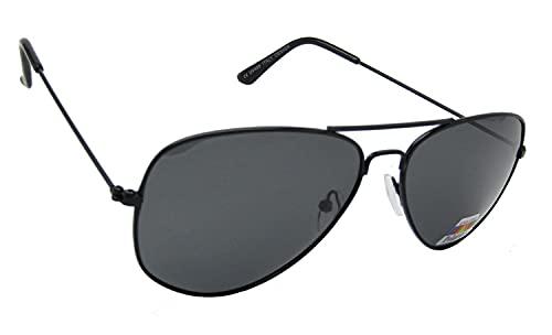 Óculos de Sol Polarizado Estilo Aviador Armação de Metal Preta