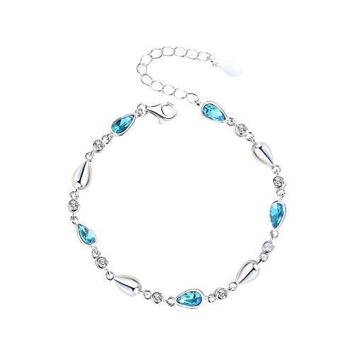Pulsera Mujer Plata de ley Gota de agua azul Diseño de diamante azul Pulsera simple Pulsera de novias Joyas de cristal Regalo para novia y madre y hermana