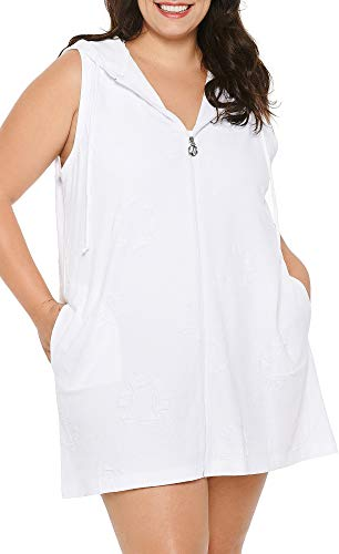 Dotti Plus Size Sail Away Puff Zip Front Hoodie Dress Cover-Up White 2X