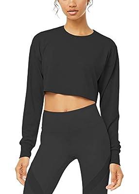 Bestisun Crop Top Workout Shirs Cropped Long Sleeve Top for Women Black L