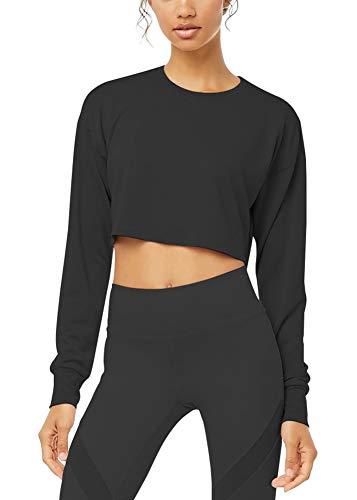 Bestisun Long Sleeve Crop Tops for Women Workout Cropped Long Sleeve Workout Tops for Women Black S
