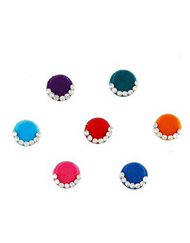 Anuradha Art Jewellery Multi Colour Bindis For Ladies Wedding Round...