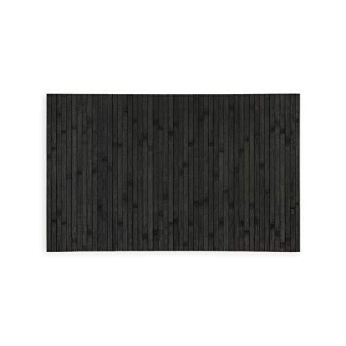 WohnDirect Nachhaltige Bambus Badematte Schwarz • rutschfestes Zero Waste Produkt • Badevorleger, Duschvorleger 50 x 80 cm