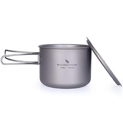 iBasingo 800 ml Titan Topf Schüssel Leichte Camping Tasse Outdoor Kochgeschirr Koch Mess Kit mit Klappgriff Küchen Utensilien für den Außenbereich für 1 Personen Ti2041C