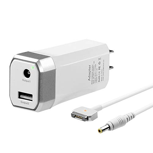 60W Mini Charger for MacBook Pro 13 inch Retina Display, Compatible with Magsafe 2 T-Tip Power Adapter Mac(2012,2013,2014,2015) -One Extra USB Port