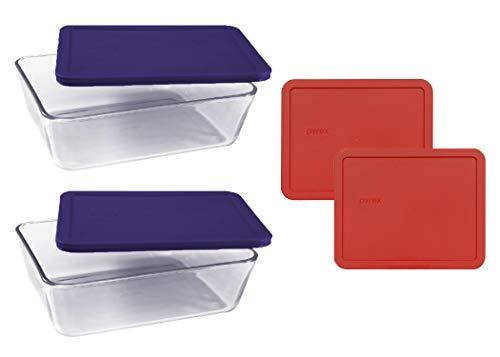 Pyrex Basics Frischhaltedosen aus transparentem Glas, 2 Stück (11 Tassen) länglich mit marineblauen und roten Kunststoffdeckeln