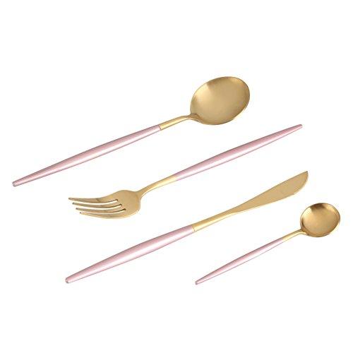 Bestekset van roestvrij staal. 4 stuks/set van 2 stuks lepel vork mes voor thuisgebruik/restaurant/kerstcadeau etc. roze en goud.