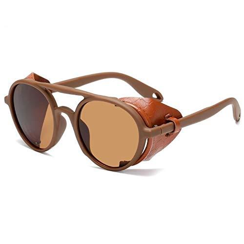 IN THE DISTANCE Gafas de Sol Vintage Steampunk Hombres Mujeres Cuero con Protectores Laterales Estilo Gafas de Sol Redondas Damas Gafas Frescas UV400 Gafas (Lenses Color : Brown Lens)