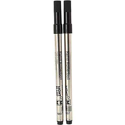 Montblanc 105158 - Refill (M) per penne roller e fineliner, Mystery Black (nero) – Ricariche di alta qualitá, punta media, 1 x 2 Refill