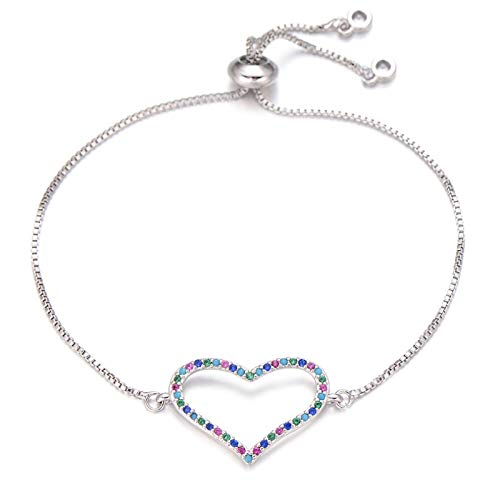Jewellery Bracelets Bangle For Womens Romantic Large Love Heart Bracelet Female Multi Cubic Zirconia Crystal Charm Bracelets Wedding Bridal Jewelry Gift Silver