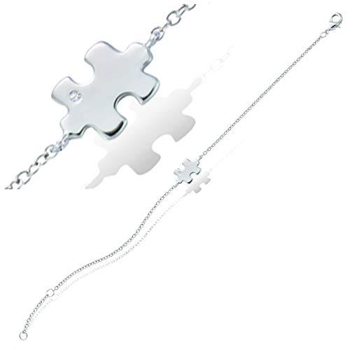 Les Trésors de Lily [P6901 - Pulsera de Plata 'Puzzle Design' Plateada (rodiada).