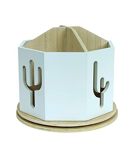 Spinning Desktop Stationary Organizer – Decorative Wooden Rotating Pen and Pencil Cup – Desk and Table Top Office Supplies Station - by Designstyles (White with Cactus Cutout)