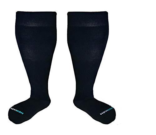 HOYISOX - Calcetines de compresión para hombre y mujer, tamaño grande, de 20 a 30 mmHg, de algodón cómodo, 4X-Large