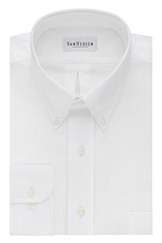 Van Heusen Men's Long-Sleeve Oxford Dress Shirt, White, 17.5' Neck 38'-39' Sleeve