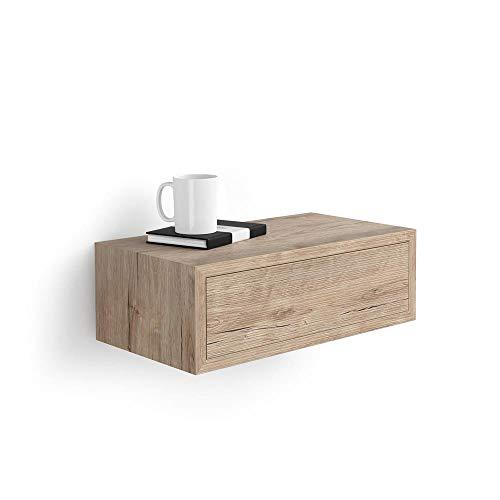 Mobili Fiver, Comodino sospeso Riccardo, Bianco Frassino, 45 x 25 x 15 cm, Nobilitato, Made in Italy, Disponibile in Vari Colori