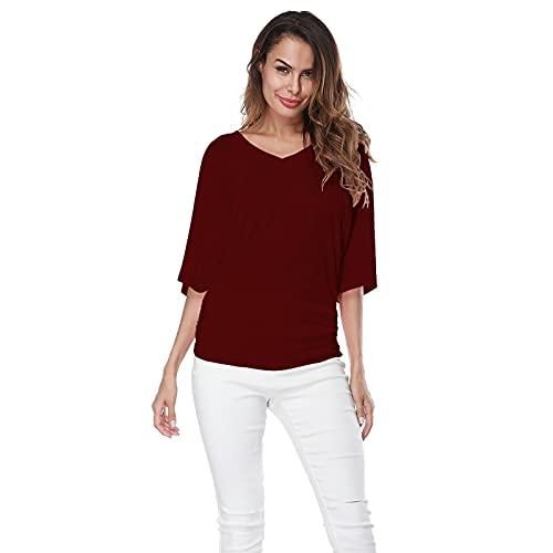YANFANG Blusa Moda Mujer Talla Grande SóLido Cuello En V Manga Corta Fruncido Superior Camiseta,Camisas Informal Mujer,Blusas Verano,Camisetas Tallas Grandes,Rojo,S