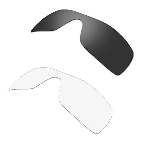 HKUCO Plus Replacement Lenses For Oakley Batwolf Sunglasses Black/Transparent Polarized