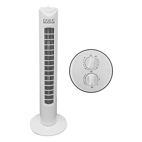 Eaxus®️ Turmventilator 81 cm groß, 3 Stufen, 90° Oszillierend, 45 Watt Leistung. ❄️ Sehr Leise, ohne Rotorblätter ideal fürs Schlafzimmer und Büro, Weiß