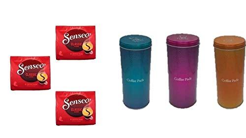 Senseo Kaffeepads Klassisch / Classic, Intensiver & Vollmundiger Geschmack, Kaffee, 3 x 16 Pads 3 Dosen Türkis pink orange