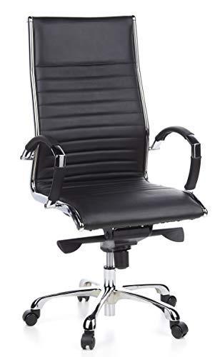 hjh OFFICE 660500 silla de oficina PARMA 20 piel negro, cuero real, respaldo alto, con apoyabrazos, alta gama, inclinable
