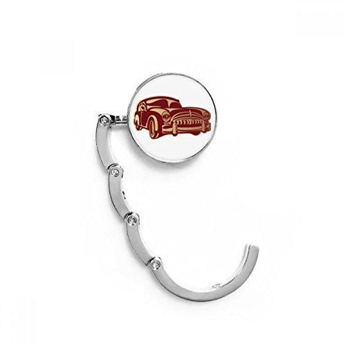 DIYthinker Deep Rot Classic Cars Muster Silhouette Tabelle Haken Falttasche Schreibtisch Aufhänger Faltbare Halter 4,4 x 4,4 cm (Breite x Höhe) gefaltet Mehrfarbig