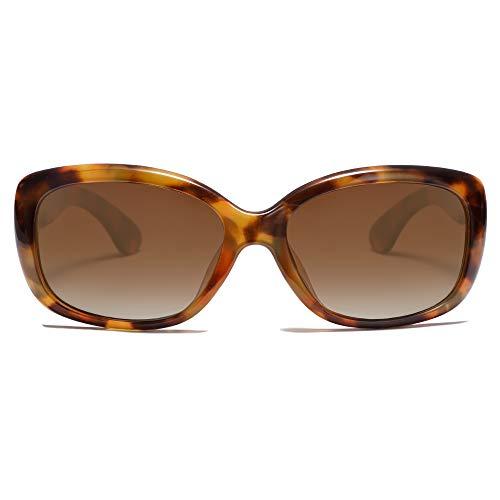 SOJOS Vintage Square Sunglasses for Women Polarized UV Protection Havana Frame SJ2111 with Tortoise Frame/Gradient Brown Lens