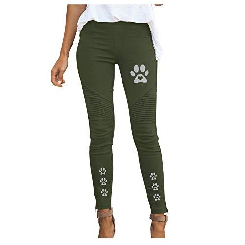 BIBOKAOKE Jeans Damen Skinny mit Katzendruck Jeanshosen Atmungsaktiv Sweatpants Jogginghose Mode Röhrenjeans Harajuku Trouser Mehrere Farben Denim Pants