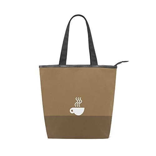 JinDoDo - Bolsa de lona con cremallera, color blanco y café caliente, para mujer, para ir de compras, viajes, playa, escuela