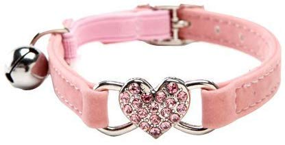 JIA Terciopelo Suave Seguro Gato Ajustable Collar Forma de Corazon Bling Diamante con cascabeles, para Perros pequeños y Gatos (Rosa)