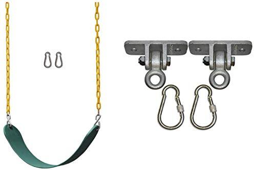 "Jungle Gym Kingdom Swing Seat Heavy Duty 66"" Chain Plastic Coated and Heavy Duty Swing Hangers - DIY Combo"
