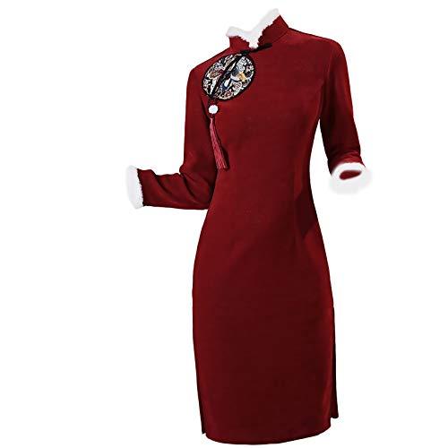 Vestido tradicional Cheongsam - Red Femenina Traje Tang Traje de Año Nuevo Ropa de felicitación para adultos Año Nuevo Y Invierno Engrasamiento Ropa para mujer Abrigo de estilo chino Otoño e invierno