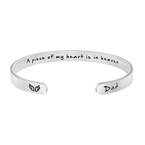 A Piece Of My Heart Is In Heaven Memorial Jewelry Loss of Dad Sympathy Gifts for Women Remembrance Mantra Cuff Bracelet