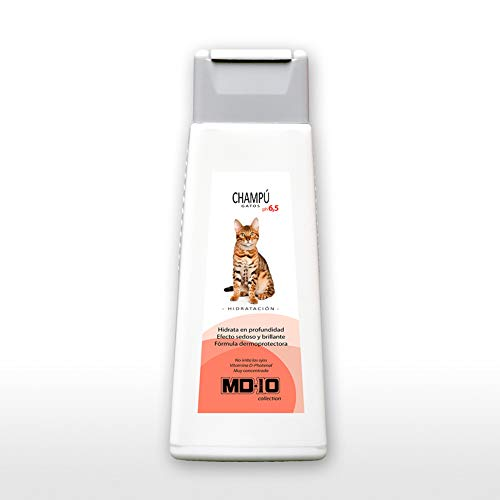 MD-10 COLLECTION Champú Gatos Hidratación 300ml - Pelo Largo/Liso - Pieles delicadas - Sedoso y Brillante
