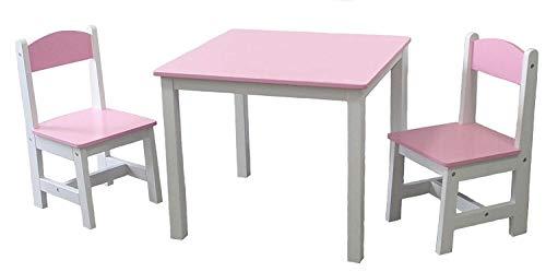 Kindermöbelset Kindertisch & 2 Stühle Kindersitzgruppe Sitzgruppe Tisch Stuhl Kinderhocker Kindermöbel (Rosa & Weiss)