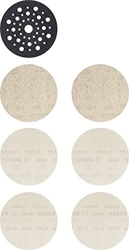 Bosch Professional 7 x Kits de iniciación & quot, Expert M480 & quot, para Madera dura, Pintura sobre madera, 125 mm, Grano 80, 120, 180, Accesorios Lijadora excéntrica