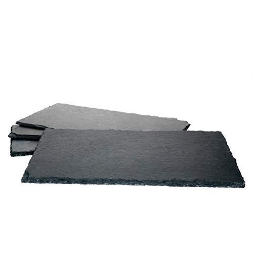 MamboCat 4er-Set Schieferplatte 17x34cm I Rustikaler Stein-Teller aus Schiefer - mit naturbelassener Bruchkante I ideal als Sushi-Platte & Servier-Teller I 4 Stück Servier-Platte Schwarz 17 x 34 cm