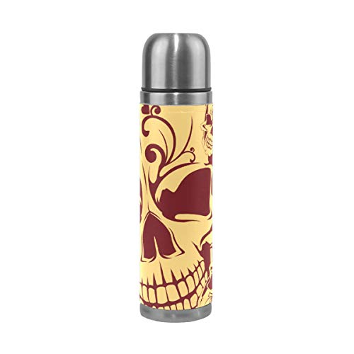 XiangHeFu lekvrije thermosfles houdt koud of warm reisbeker waterfles 17oz Sports Art Cool Skull Seamless patroon