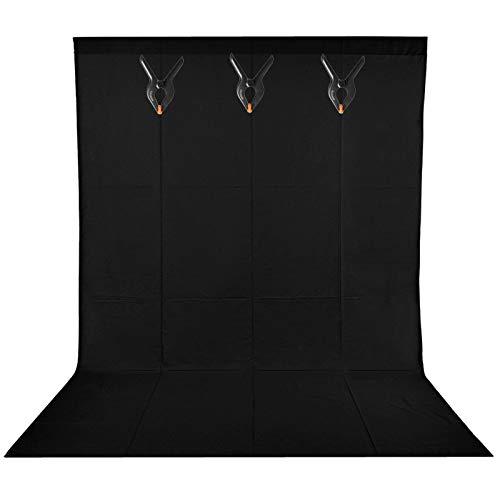 BDDFOTO 1,5 x 2m Photo Studio Foto Hintergrund Schwarz 100% Reiner Baumwolle Muslin Faltbare Blackscreen Hintergrund Leinwand mit 3 Leimzwinge für Fotografie, Video und Fernsehen