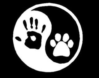 CMI309 Ying yang human hand dog paw hunter vinyl window decal sticker.