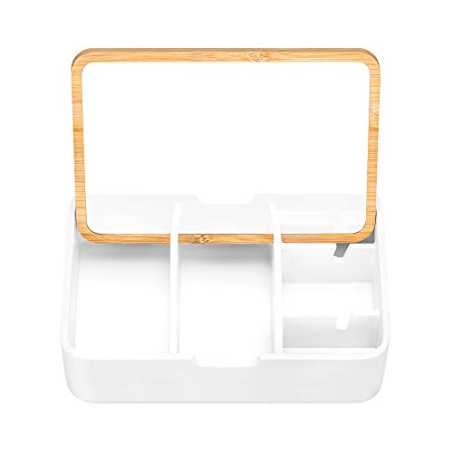 Navaris Organizador de joyas y maquillaje - Caja joyero con tapa de bambú y espejo - Con 5x clasificador para guardar cosméticos pintauñas joyas