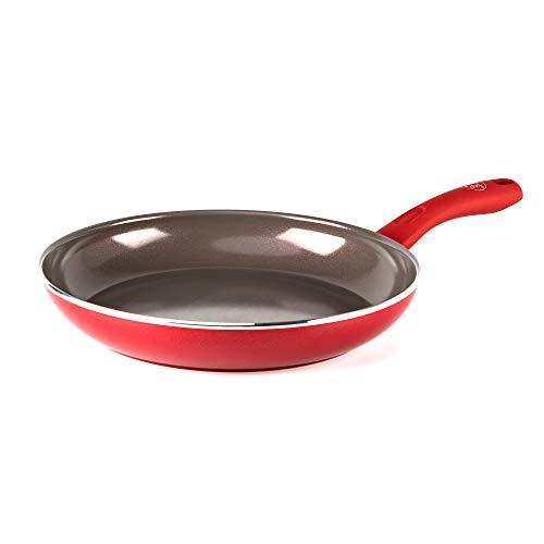 GreenChef Pfanne Bratpfanne Induktion Keramik Beschichtet, Toxinfreies Kochen, Ofen- und Spülmaschinengeeignet - 28 cm, Rot