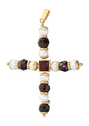 Hobra-Gold GROSSES KREUZ GOLD 750/18 KT mit Perlen und Granaten - Anhänger Goldkreuz Perlenkreuz